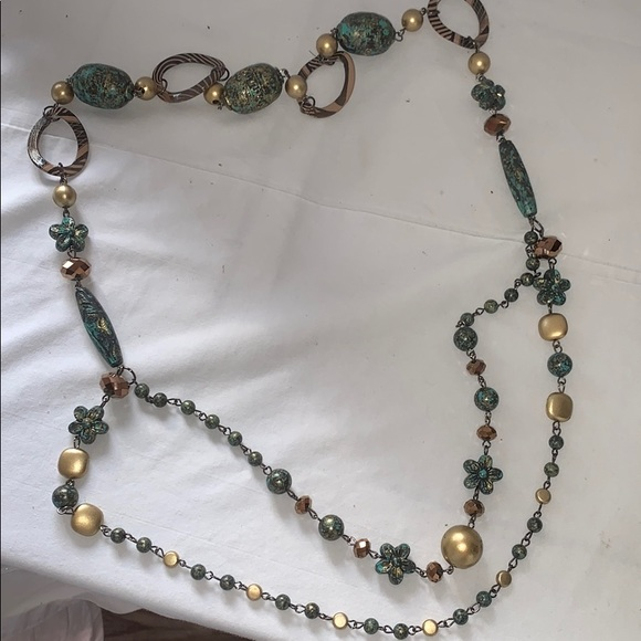 """Jewelry - """"Antiques"""" bronze turquoise necklace"""